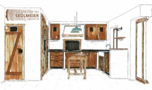 Küche Altholz und Eichenfronten