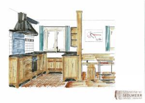 Bauernhausdesign-Küche Altholz